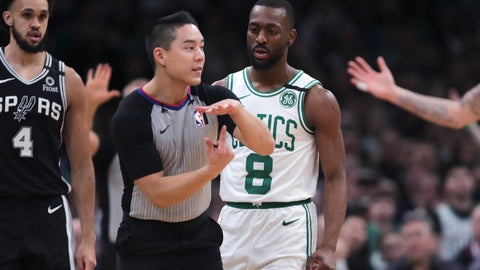 <p>               Boston Celtics guard Kemba Walker (8) watches as referee Evan Scott charges him with a technical foul during the third quarter of an NBA basketball game Wednesday, Jan. 8, 2020 in Boston. (AP Photo/Charles Krupa)             </p>