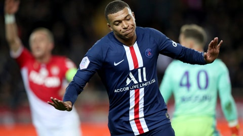 <p>               PSG's Kylian Mbappe celebrates after scoring his side's opening goal during the French League One soccer match between Monaco and Paris Saint-Germain at the Louis II stadium in Monaco, France, Wednesday, Jan. 15, 2019. (AP Photo/Daniel Cole)             </p>