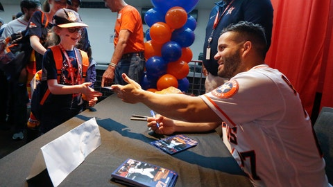 <p>               Jose Altuve signs autographs for young fans during the baseball team's FanFest at Minute Maid Park on Saturday, Jan. 18, 2020, in Houston. (Steve Gonzales/Houston Chronicle via AP)             </p>