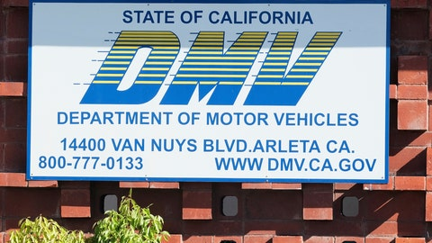 """<p>               FILE — In this April 9, 2019 file photo is the California Department of Motor Vehicles office in the Arleta neighborhood of Los Angeles. The California DMV announced Tuesday, Jan. 28, 2020, that it has come to an agreement with soccer fan Jonathan Kotler who had sued the department claiming it had violated his First Amendment rights by rejecting a personalized license plate he said would celebrate his favorite team, but which the DMV said might be deemed offensive. The lawsuit said Kotler applied for a plate that would read COYW, an abbreviation of """"Come on You Whites,"""" a slogan used by fans of London-based Fulham Football Club, referring to their signature white shirts. A DMV spokesperson said it is expediting the approval to get it the plate to Kotler as soon as possible. (AP Photo/Richard Vogel, File)             </p>"""
