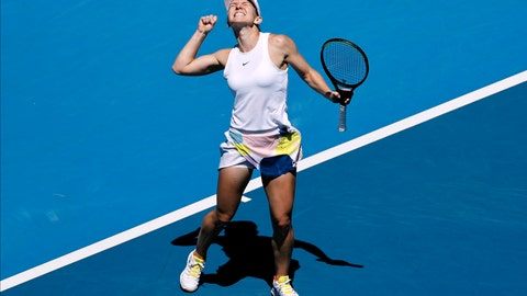 <p>               Romania's Simona Halep celebrates after defeating Estonia's Anett Kontaveit during their quarterfinal match at the Australian Open tennis championship in Melbourne, Australia, Wednesday, Jan. 29, 2020. (AP Photo/Dita Alangkara)             </p>