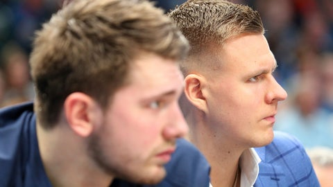 <p>               Dallas Mavericks forward Luka Doncic, left, and forward Kristaps Porzingis sit on the bench during the first half of the team's NBA basketball game against the Los Angeles Lakers on Friday, Jan. 10, 2020, in Dallas. (AP Photo/Richard W. Rodriguez)             </p>