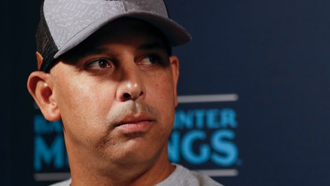 <p>               Boston Red Sox manager Alex Cora listens to a question during the Major League Baseball winter meetings Monday, Dec. 9, 2019, in San Diego. (AP Photo/Gregory Bull)             </p>