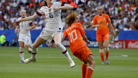 <p>               FILE - In this July 7, 2019, file photo, United States' Rose Lavelle, left, is challenged by Netherlands' Danielle Van De Donk during the Women's World Cup final soccer at the Stade de Lyon in Decines, outside Lyon, France. Twenty players have been named to the U.S. women's soccer team that will play for a spot in the Tokyo Olympics. Coach Andonovski announced the roster for the CONCACAF Olympic qualifying tournament Friday, Jan. 17, 2020. (AP Photo/David Vincent, File)             </p>