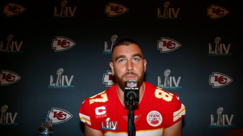 <p>               Kansas City Chiefs tight end Travis Kelce (87) speaks during a news conference on Thursday, Jan. 30, 2020, in Aventura, Fla., for the NFL Super Bowl 54 football game. (AP Photo/Brynn Anderson)             </p>
