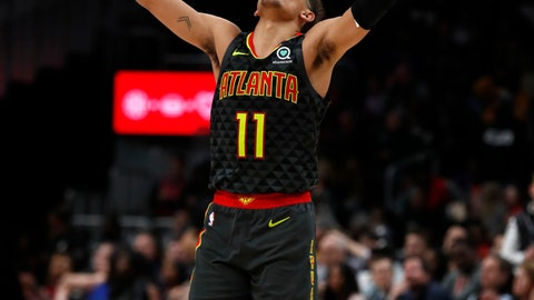 <p>               Atlanta Hawks guard Trae Young (11) reacts after hitting a basket during the second half of an NBA basketball game against the Philadelphia 76ers, Thursday, Jan. 30, 2020, in Atlanta. (AP Photo/John Bazemore)             </p>