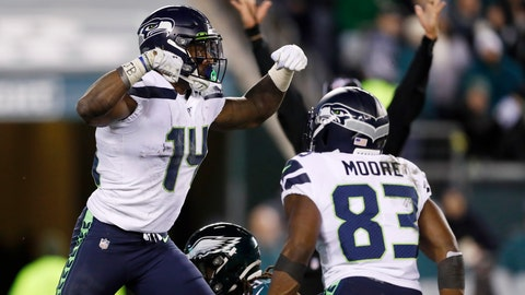 <p>               Seattle Seahawks' D.K. Metcalf, left, and David Moore celebrate after Metcalf's touchdown catch during the second half of an NFL wild-card playoff football game against the Philadelphia Eagles, Sunday, Jan. 5, 2020, in Philadelphia. (AP Photo/Julio Cortez)             </p>
