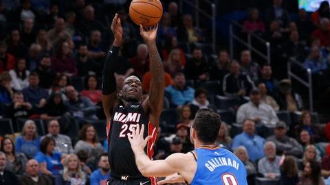 <p>               Miami Heat guard Kendrick Nunn (25) shoots over Oklahoma City Thunder forward Danilo Gallinari (8) in the first half of an NBA basketball game Friday, Jan. 17, 2020, in Oklahoma City. (AP Photo/Sue Ogrocki)             </p>