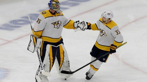 <p>               Nashville Predators right wing Viktor Arvidsson, right, celebrates with goalie Pekka Rinne after scoring a goal against the Chicago Blackhawks during the first period of an NHL hockey game in Chicago, Thursday, Jan. 9, 2020. (AP Photo/Nam Y. Huh)             </p>