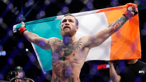 "<p>               Conor McGregor celebrates after defeating Donald ""Cowboy"" Cerrone during a UFC 246 welterweight mixed martial arts bout Saturday, Jan. 18, 2020, in Las Vegas. (AP Photo/John Locher)             </p>"