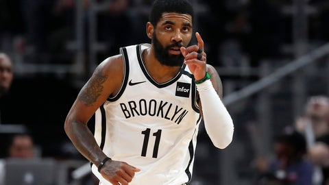 <p>               Brooklyn Nets guard Kyrie Irving (11) reacts after a basket in overtime of an NBA basketball game against the Detroit Pistons in Detroit, Saturday, Jan. 25, 2020. Brooklyn won 121-111. (AP Photo/Paul Sancya)             </p>