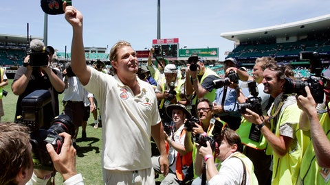 <p>               FILE - In this Jan. 5, 2007, file photo, Australian bowler Shane Warne waves his cap to the crowd as he leaves the field following their win over of England in the fifth and final Ashes cricket test in Sydney, Australia. Warne's baggy green cap has made more than 1 million Australian dollars ($685,000) at auction to aid those affected by wild fires across the country. When bidding closed on Friday morning, Jan. 10, 2020 the famous cap which is given to each Australian test cricketer was sold for $1,007,500. (AP Photo/Mark Baker,File)             </p>
