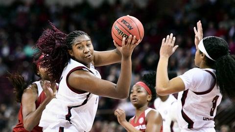 <p>               South Carolina forward Aliyah Boston (4) grabs a rebound against Arkansas during the second half of an NCAA college basketball game Thursday, Jan. 9, 2020, in Columbia, S.C. (AP Photo/Sean Rayford)             </p>