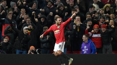 <p>               Manchester United's Juan Mata celebrates after scoring his side's first goal during the English FA Cup third round replay soccer match between Manchester United and Wolverhampton Wanderers at Old Trafford in Manchester, England, Wednesday, Jan. 15, 2020. (AP Photo/Rui Vieira)             </p>