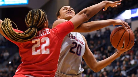 <p>               Houston's KeAsja Peace (22) fouls Connecticut's Olivia Nelson-Ododa (20) in the first half of an NCAA college basketball game, Saturday, Jan. 11, 2020, in Hartford, Conn. (AP Photo/Jessica Hill)             </p>