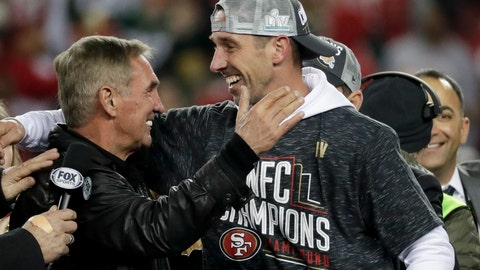 <p>               San Francisco 49ers head coach Kyle Shanahan celebrates with his dad, Mike, after the NFL NFC Championship football game against the Green Bay Packers Sunday, Jan. 19, 2020, in Santa Clara, Calif. The 49ers won 37-20 to advance to Super Bowl 54 against the Kansas City Chiefs. (AP Photo/Matt York)             </p>