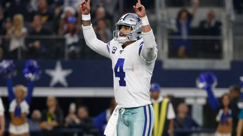 <p>               Dallas Cowboys quarterback Dak Prescott (4) celebrates after making a touchdown throw against the Washington Redskins during the second half of an NFL football game in Arlington, Texas, Sunday, Dec. 15, 2019. Prescott connected with wide receiver Michael Gallup for the touchdown. (AP Photo/Ron Jenkins)             </p>