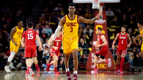 <p>               Southern California guard Elijah Weaver celebrates his 3-point basket during the second half of the team's NCAA college basketball game against Utah on Thursday, Jan. 30, 2020 in Los Angeles. (AP Photo/Kyusung Gong)             </p>