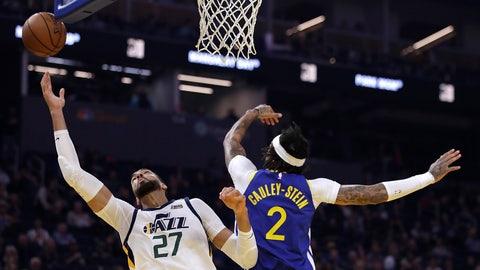 <p>               Utah Jazz center Rudy Gobert, left, reaches for a rebound past Golden State Warriors' Willie Cauley-Stein (2) in the first half of an NBA basketball game Wednesday, Jan. 22, 2020, in San Francisco. (AP Photo/Ben Margot)             </p>