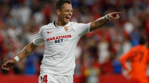 "<p>               FILE - In this Oct. 3, 2019, file photo, Sevilla's Javier Hernandez celebrates after scoring his side's opening goal during a Europa League group A soccer match against APOEL Nicosia at the Estadio Ramon Sanchez-Pizjuan stadium in Seville, Spain. The Los Angeles Galaxy have signed Javier ""Chicharito"" Hernández to a Designated Player contract, the MLS soccer club announced Tuesday, Jan. 21, 2020. (AP Photo/Miguel Morenatti, File)             </p>"