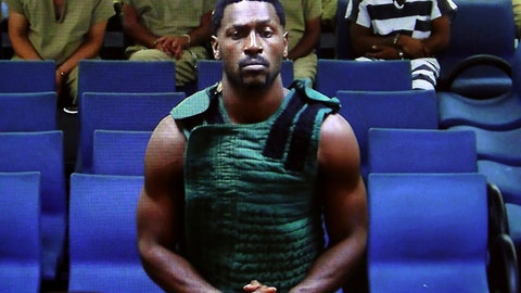 <p>               NFL free agent Antonio Brown appears at the Broward County Courthouse in Fort Lauderdale, Fla., via video link  Friday, Jan. 24, 2020. Brown was granted bail on Friday after spending the night in a Florida jail. The wide receiver will have to pay a bond of $110,000, surrender his passport, wear a monitor, get mental health evaluation and pass random drug tests. He also can't have guns. Brown is accused of attacking the driver of a moving truck that carried some of his possessions from California. (Amy Beth Bennett/South Florida Sun Sentinel via AP, Pool)             </p>