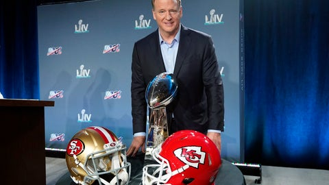 <p>               NFL Commissioner Roger Goodell poses with the Vince Lombardi Trophy after a news conference for the NFL Super Bowl 54 football game Wednesday, Jan. 29, 2020, in Miami. (AP Photo/David J. Phillip)             </p>
