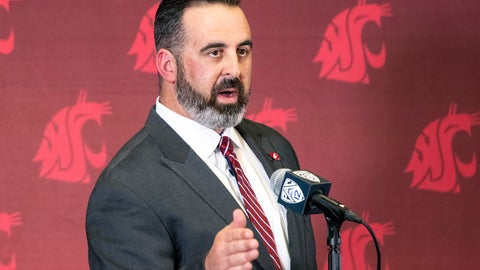 <p>               New Washington State football coach Nick Rolovich speaks during a news conference after being officially introduced as the head coach on Thursday, Jan. 16, 2020, in Pullman, Wash. (Pete Caster/Lewiston Tribune via AP)             </p>
