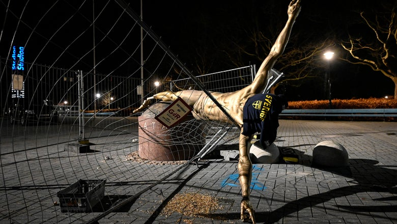 Statue of Zlatan Ibrahimovic overturned in Malmo