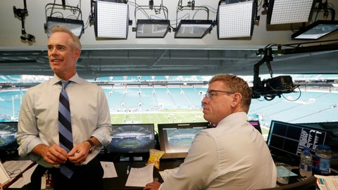 <p>               FILE - In this Aug. 23, 2019, file photo, Fox Sports play-by-play announcer Joe Buck, left, and analyst Troy Aikman, right, work in the broadcast booth before a preseason NFL football game between the Miami Dolphins and Jacksonville Jaguars in Miami Gardens, Fla. Chris Myers and Erin Andrews will be doing a little bit of everything on the sidelines for Fox's broadcast of Super Bowl 54. Not only will they be filing reports, but will be the eyes and ears for the production truck as well as Joe Buck and Troy Aikman in the booth. (AP Photo/Lynne Sladky, File)             </p>