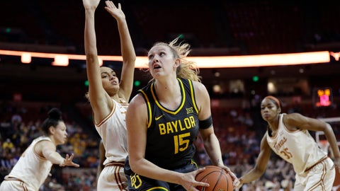 <p>               Baylor forward Lauren Cox (15) looks to shoot past Texas guard Celeste Taylor during the first half of an NCAA college basketball game Friday, Jan. 31, 2020, in Austin, Texas. (AP Photo/Eric Gay)             </p>