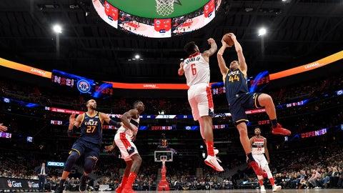 <p>               Utah Jazz forward Bojan Bogdanovic (44) goes to the basket next to Washington Wizards guard Troy Brown Jr. (6) during the first half of an NBA basketball game, Sunday, Jan. 12, 2020, in Washington. (AP Photo/Nick Wass)             </p>