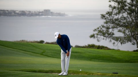 <p>               Tiger Woods hits his second shot on the fourth hole during the pro-am round of the Farmer's Insurance golf tournament on the South Course at Torrey Pines Golf Course on Wednesday, Jan. 22, 2020, in San Diego. (AP Photo/Denis Poroy)             </p>