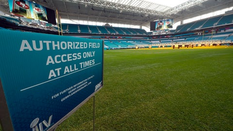 <p>               Hard Rock Stadium is shown during a tour for the media Tuesday, Jan. 28, 2020, in Miami Gardens, Fla., in preparation for the NFL Super Bowl 54 football game. (AP Photo/David J. Phillip)             </p>