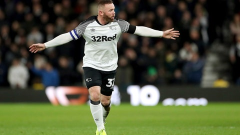 <p>               Derby County's Wayne Rooney gestures to his team-mates during the match against Barnsley, during their English Championship soccer match at Pride Park in Derby, England, Thursday Jan. 2, 2020. (Bradley Collyer/PA via AP)             </p>