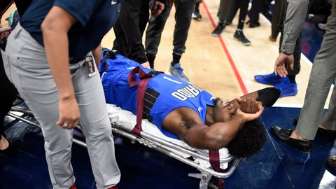 <p>               Orlando Magic forward Jonathan Isaac is taken off the court on a stretcher after he sustained an injury during the first half of the team's NBA basketball game against the Washington Wizards, Wednesday, Jan. 1, 2020, in Washington. (AP Photo/Nick Wass)             </p>