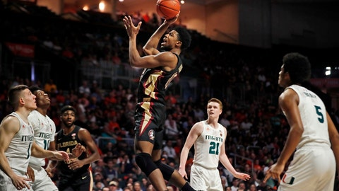 <p>               Florida State forward Malik Osborne (10) shoots the ball during the first half of an NCAA college basketball game against Miami on Saturday, Jan. 18, 2020, in Coral Gables, Fla. (AP Photo/Brynn Anderson)             </p>