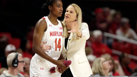 <p>               FILE - In this Monday, Jan. 6, 2020, file photo, Maryland head coach Brenda Frese, right, talks with guard Diamond Miller during the second half of an NCAA college basketball game against Ohio State in College Park, Md. Riding a five-game winning streak and closing in on its customary perch atop the Big Ten standings, the 17th-ranked Maryland women's basketball team turned around its season with a minimum of assistance from fiery coach Brenda Frese. (AP Photo/Julio Cortez, File)             </p>