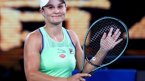 <p>               Australia's Ashleigh Barty reacts after defeating Lesia Tsurenko of Ukraine in their first round singles match the Australian Open tennis championship in Melbourne, Australia, Monday, Jan. 20, 2020. (AP Photo/Lee Jin-man)             </p>