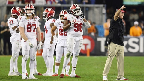 <p>               Indiana coach Tom Allen argues with officials about the onside kick by Tennessee late in the fourth quarter of the Gator Bowl NCAA college football game Thursday, Jan. 2, 2020, in Jacksonville, Fla. Tennessee recovered the kick. (Bob Self/The Florida Times-Union via AP)             </p>