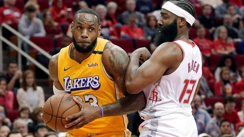 <p>               Los Angeles Lakers forward LeBron James (23) bumps Houston Rockets guard James Harden (13) as he drives to the basket during the first half of an NBA basketball game Saturday, Jan. 18, 2020, in Houston. (AP Photo/Michael Wyke)             </p>