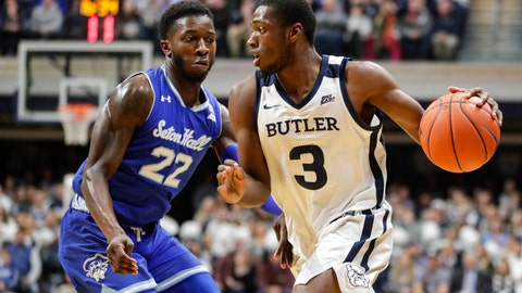<p>               Butler guard Kamar Baldwin (3) drives on Seton Hall guard Myles Cale (22) in the first half of an NCAA college basketball game in Indianapolis, Wednesday, Jan. 15, 2020. (AP Photo/Michael Conroy)             </p>