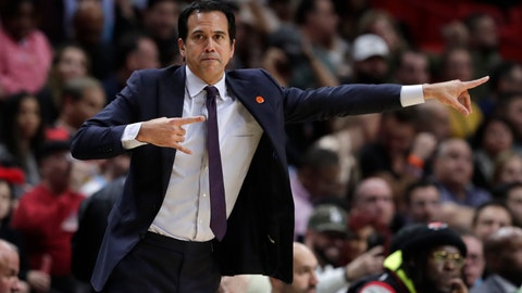 <p>               Miami Heat head coach Erik Spoelstra watches during the first half of an NBA basketball game against the Washington Wizards, Wednesday, Jan. 22, 2020, in Miami. The Heat won 134-129 in overtime. (AP Photo/Lynne Sladky)             </p>