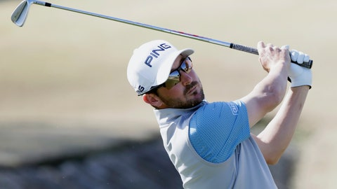 <p>               Andrew Landry follows through on the fourth tee during the final round of The American Express golf tournament on the Stadium Course at PGA West in La Quinta, Calif., Sunday, Jan. 19, 2020. (AP Photo/Alex Gallardo)             </p>