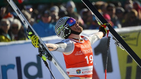 <p>               Norway's Kjetil Jansrud celebrates at the finish area during an alpine ski, men's World Cup super G, in Kitzbuehel, Austria, Friday, Jan. 24, 2020. (AP Photo/Marco Trovati)             </p>