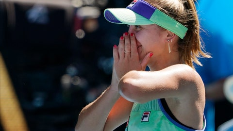 <p>               Sofia Kenin of the U.S. celebrates after defeating Australia's Ashleigh Barty in their semifinal match at the Australian Open tennis championship in Melbourne, Australia, Thursday, Jan. 30, 2020. (AP Photo/Lee Jin-man)             </p>