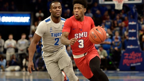 <p>               Southern Methodist guard Kendric Davis (3) handles the ball ahead of Memphis guard Alex Lomax (2) in the first half of an NCAA basketball game Saturday, Jan. 25, 2020, in Memphis, Tenn. (AP Photo/Brandon Dill)             </p>