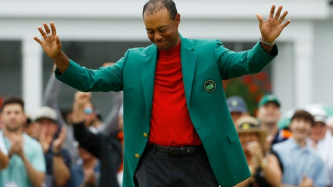 <p>               FILE - In this April 14, 2019,  file photo, Tiger Woods smiles as he wears his green jacket after winning the Masters golf tournament in Augusta, Ga. Fourteen years after his last Masters win and 11 years after his last major, after fighting through chronic back problems, multiple surgeries, a bout with painkillers and long after just about everybody had written him off, Woods claimed his fifth green jacket. (AP Photo/Matt Slocum, File)             </p>