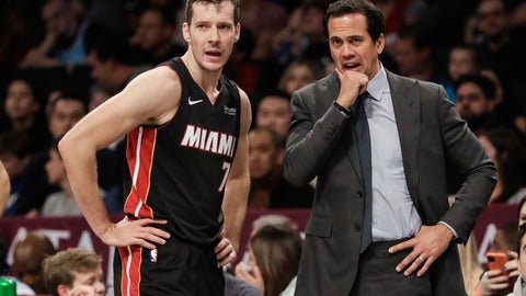 <p>               Miami Heat's Goran Dragic, left, talks to coach Erik Spoelstra during the second half of the team's NBA basketball game against the Brooklyn Nets on Friday, Jan. 10, 2020, in New York. The Nets won 117-113. (AP Photo/Frank Franklin II)             </p>