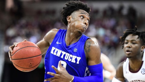 <p>               Kentucky guard Ashton Hagans (0) drives to the basket during the first half of the team's NCAA college basketball game against South Carolina on Wednesday, Jan. 15, 2020, in Columbia, S.C. (AP Photo/Sean Rayford)             </p>