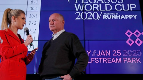 <p>               Race horse Omaha Beach's trainer Richard Mandella, right, is interviewed by racing analyst Acacia Courtney during the draw for the Pegasus World Cup Horse Race, Wednesday, Jan. 22, 2020, in Hallandale Beach, Fla. The race will run Saturday, Jan. 25 at Gulfstream Park in Hallandale Beach. (AP Photo/Wilfredo Lee)             </p>